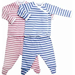 Classic Stripes Side Snap Layette Set in Rose Stripes Size: 1 - 3 Month