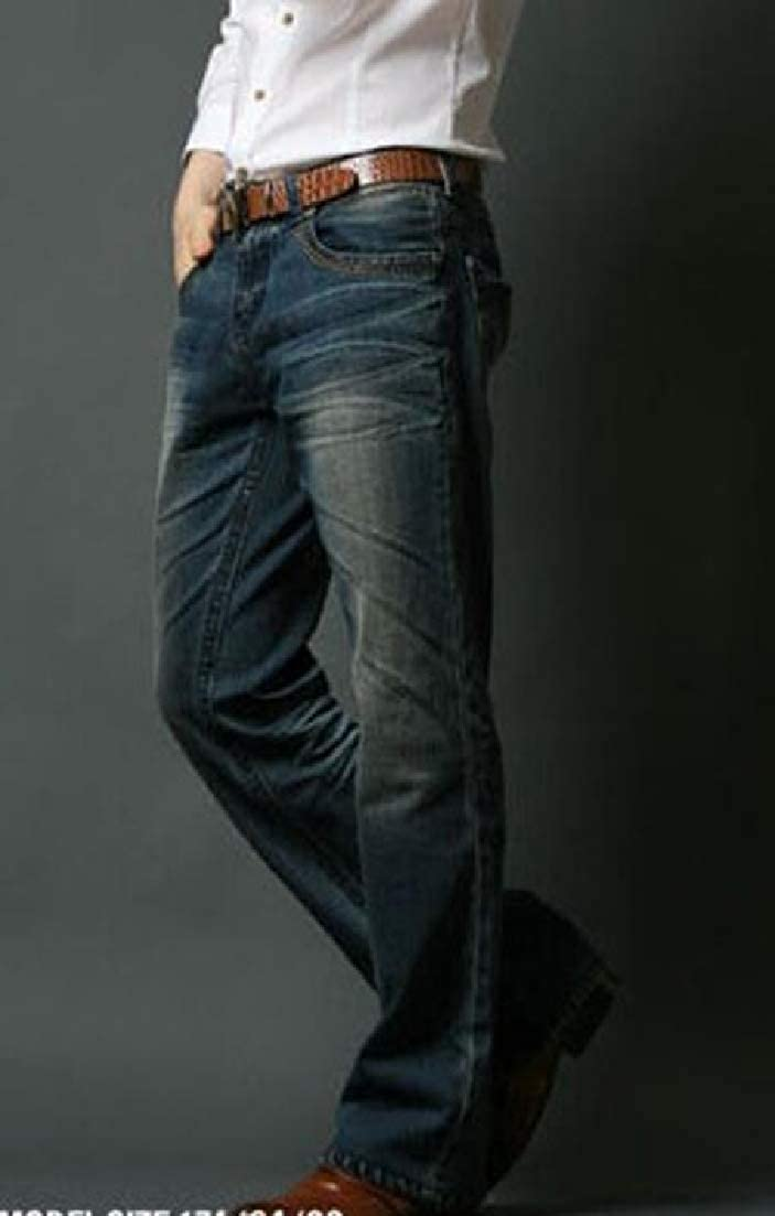X-Future Men Washed Slim Fashion Vintage Straight Leg Denim Jeans Pants