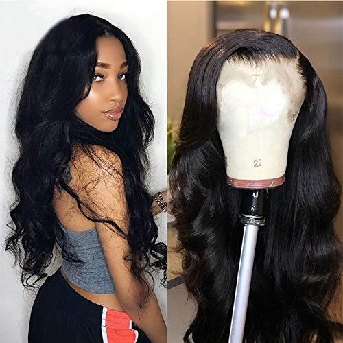 Maxine 360 Lace Frontal Wig Body Wave Brazilian Human Hair Wigs Pre-Plucked Hairline 130% Density Natural Color With Adjustable Straps 360 Lace Wig with Baby Hair for Black Women 10 inch