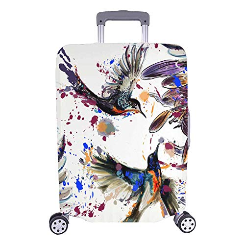 InterestPrint Lily Flowers and Hummingbirds Splashes Luggage Cover Suitcase Bag Baggage Cover for 26
