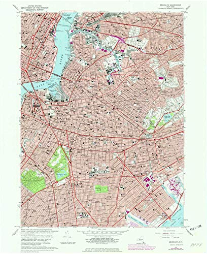 (YellowMaps Brooklyn NY topo map, 1:24000 Scale, 7.5 X 7.5 Minute, Historical, 1967, Updated 1979, 27 x 22 in - Paper)