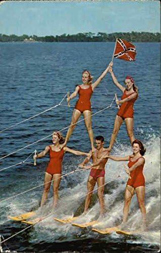 Human Pyramid On Water Skis Cypress Gardens Florida Fl Original
