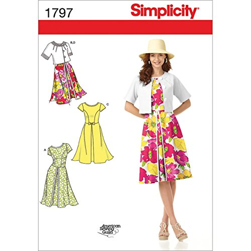 Simplicity American Sewing Guild Pattern 1797 Misses Dress and Jacket with Some Variation Sizes 16-18-20-22-24 (Dress Sew Princess)