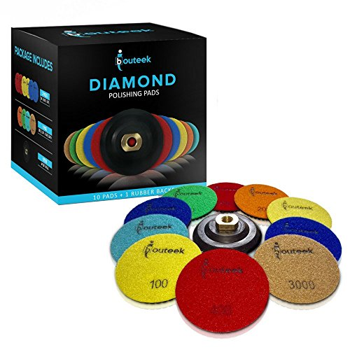 Edge Series Diamond (Diamond Polishing Pads 4 inch – Wet/Dry 11 Piece Set with Rubber Backer | Use these Polisher Discs to Polish and Finish Granite Stone Marble Concrete Travertine and Terrazo)