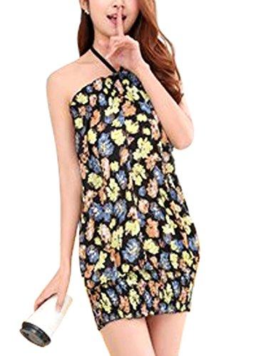 Elastic Sundress Hem Unlined Black Slipover Sleeveless Allegra Prints Women K Floral 0ZH4BO