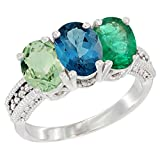 10K White Gold Natural Green Amethyst, London Blue Topaz & Emerald Ring 3-Stone Oval 7x5 mm Diamond Accent, size 8