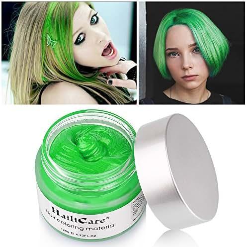 HailiCare Green Hair Wax 4.23 oz, Professional Green Hair Wax, Natural Matte Hairstyle Hair Dye Wax for Party, Cosplay (Upgrade Glass Jar)