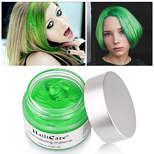 HailiCare Green Hair Wax 4.23 oz, Professional Green Hair Wax, Natural Matte Hairstyle Hair Dye Wax for Party, Cosplay (Upgrade Glass Jar) -