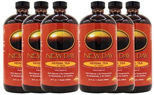 New Day Health E Blend Concentrate Tea  6 Pack  Whole Body Detox And Blood Purification Support  Original 4 Herb Recipe Includes Burdock Root  Sheep Sorrel  Slippery Elm  Turkey Rhubarb