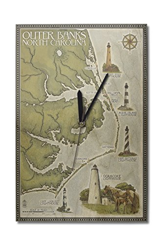 Lantern Press Outer Banks, North Carolina - Lighthouse and Town Map (10x15 Wood Wall Clock, Decor Ready to ()