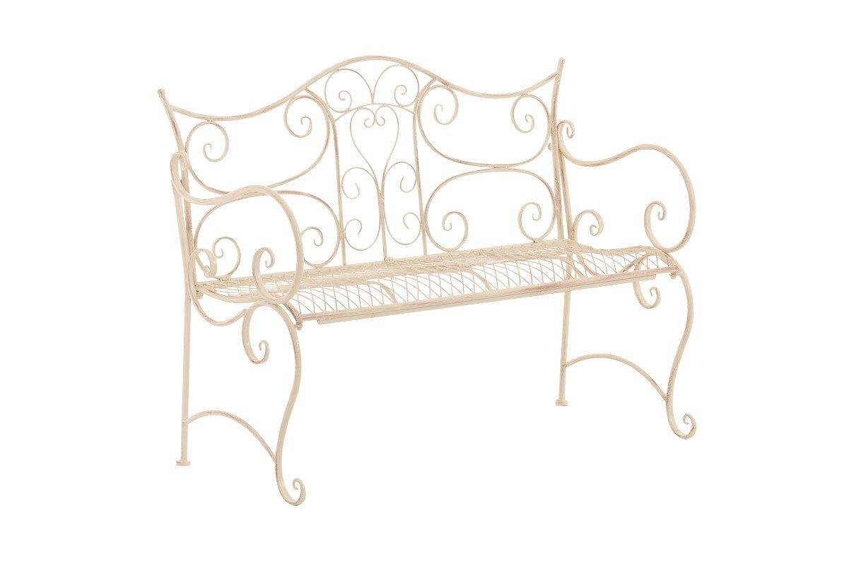 Eisen Gartenbank mit Ornamenten Antik Retro Stil cremefarben 2-3 Sitzer Sitzbank Metall mit Lehne