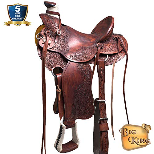 HILASON Hand Tooled Leather Western Big King Wade Ranch Roping HIGH Back Saddle