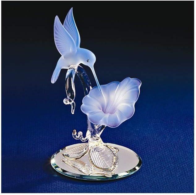 Glass Baron Hummingbird & Blue Flower Glass Figurine