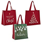 Pack of 12 Assorted Christmas Tote Bags, 13'' W x 13'' H x 6''D.