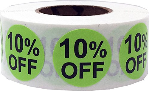 10 Sticker (10% Percent Off Stickers Hot Green With Black Lettering 3/4 Inch 500 Adhesive Labels)