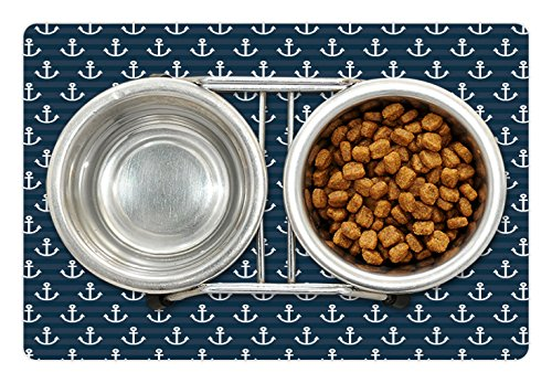 Lunarable Nautical Pet Mat for Food and Water by, Anchor Pattern Marine Themed Symmetric Adventure Cottage Ship Boat Motif, Rectangle Non-Slip Rubber Mat for Dogs and Cats, Petrol Blue White by Lunarable (Image #1)