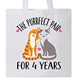 Inktastic - 4th Anniversary Gift Cat Couples Tote Bag White