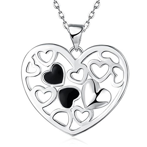Nattaphol Genuine 925 Sterlings Silver Lover's Gift Jewelry Enamel Heart Pendant Necklace Best Woman Lady Gift