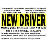 Premium NEW DRIVER sign, choose low glue glossy vinyl sticker or matte no glue magnet magnetic sticker big text made in USA (Magnet)