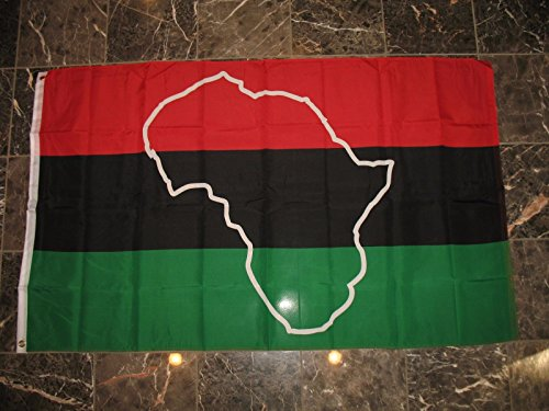 3X5 Afro American Map African Flag 3'X5' Banner Brass - Map Sunrise Miami