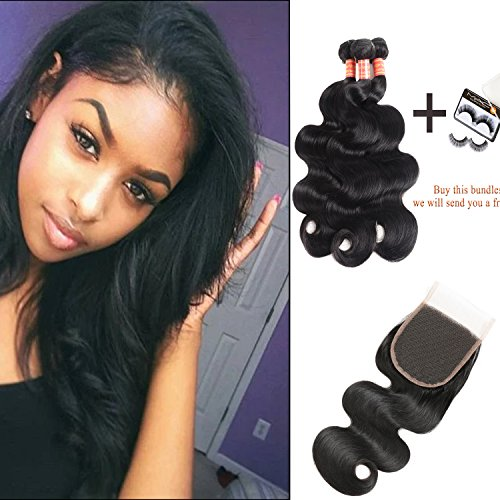 10A Brazilian Body Wave 3 Bundles with Closure 100% Unprocessed Human Virgin Hair Weave With Free Part Lace Closure Brazilian Virgin Hair Body Wave Hair Extensions (14 16 18+12