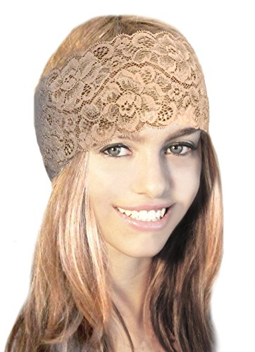 ShariRose Stunning Stretch Wide Floral Lace Head-Bands In Many Beautiful Colors Handmade (Nude - Vintage Teen Nude