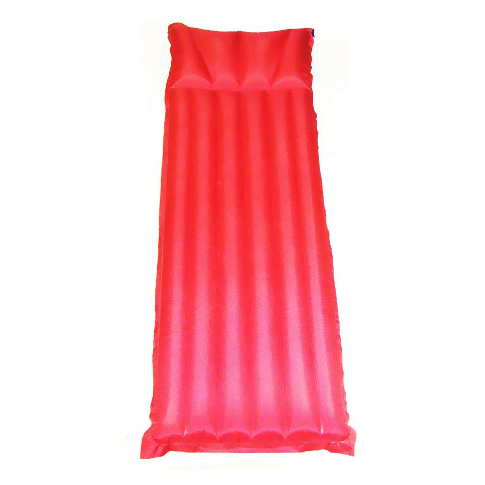 MWShop Tiny Air Mattress Nylon Fabric Single Size Air Mattress with Building in Pillow Fast Inflation and Fast Deflation Perfect for Home and Camping Use Color Red Size 77'' by 28''; Net Weight: 3lb