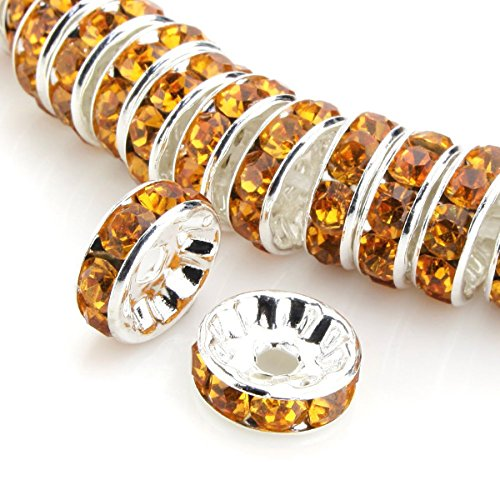 (50pcs 6mm Amber Orange Yellow Silver Plated Copper Brass Rondelle Spacer Round Loose Beads Austrian Crystal Rhinestone for Jewelry Crafting Making CF3-607)