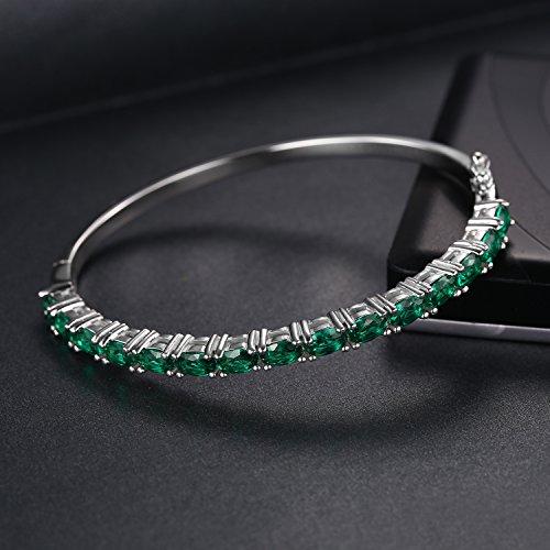JewelryPalace Jolie Vert Bracelet Femme en Argent Sterling 925 en Nano Russe Imitation Emeraude 5.83ct