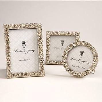 twos company 5439 diamonds set of 3 jeweled mini frames assorted - Mini Photo Frames