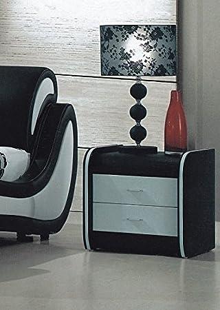 Moderne Luxus Nachttisch In Schwarz Und Weiß Leder
