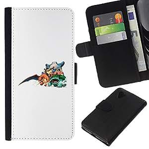 NEECELL GIFT forCITY // Billetera de cuero Caso Cubierta de protección Carcasa / Leather Wallet Case for LG Nexus 5 D820 D821 // P0kemon Equipo