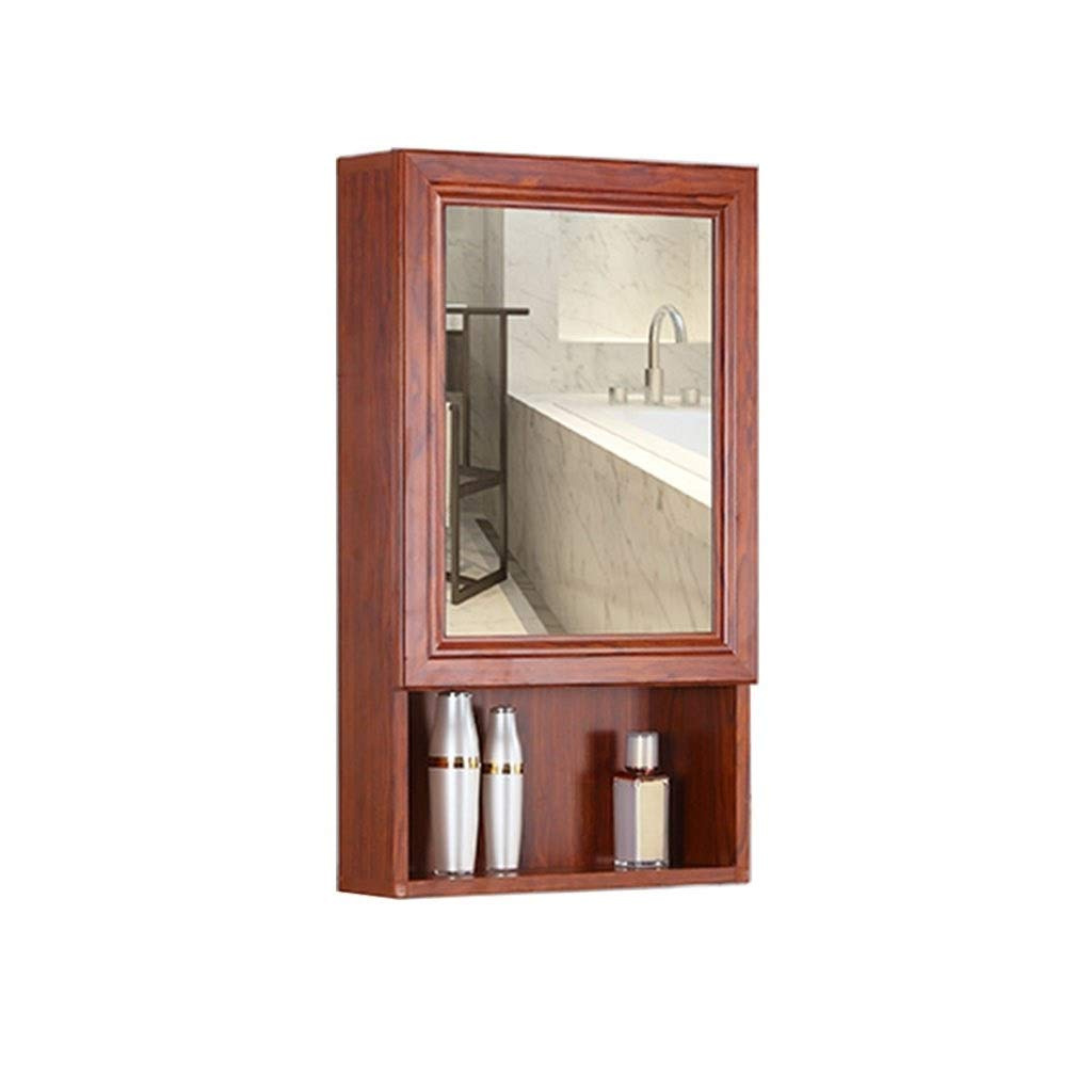 Shower Mirrors Mirror Cabinet Aluminum Mirror Cabinet Waterproof Bathroom Cabinet Makeup Mirror Cabinet Mirror Box Combination Locker Storage (Color : Red, Size : 507013cm)