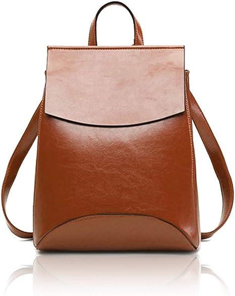 Retro Rucksack Damen Schultertasche Echtleder Vintage Rucksack Premium Büffelleder Freizeit Shopping Uni Schule 24 * 30 * 10cm