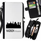 STPlus Madison, Wisconsin USA United States of America City Skyline Silhouette Postcard Wallet Card Holder with Strap and Zipper Cover Case for Apple iPhone 7 Plus / iPhone 8 Plus