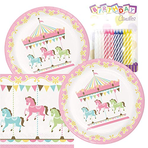 Carousel Merry Go Round Baby Girl Theme Plates and Napkins Serves 16 With Birthday Candles ()