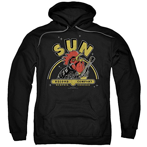 Sun Rocking Rooster Unisex Adult Pull-Over Hoodie for Men and Women, Large Black -