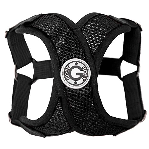 Gooby - Comfort X Step-in Harness, Choke Free Small Dog Harness with Micro Suede Trimming and Patented X Frame, Black, Small