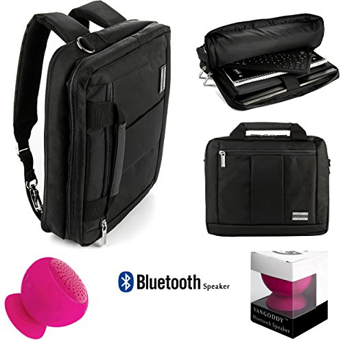 Microsoft Surface Pro 4/Pro 5/Pro 3/Book 2 Lightweight Nylon Messenger Bag Convertible To Backpack 3 in 1 + Pink Bluetooth Suction Speaker by Vangoddy