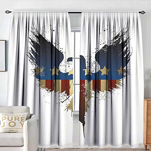 NUOMANAN Window Blackout Curtains Eagle,The American Flag on Silhouette of National Bird of The Country Majestic Animal,Blue Red Sepia,Rod Pocket Curtain Panels for Bedroom & Kitchen 54