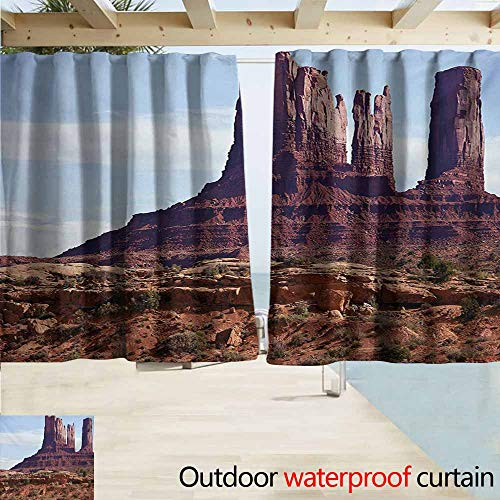 AndyTours Rod Pocket Top Blackout Curtains/Drapes,Landscape Famous Monumental Valley Grand Canyon and Red Rocky Cliffs USA Arizona Photo Print,Outdoor Privacy Porch Curtains,W63x45L - Monumental Arch