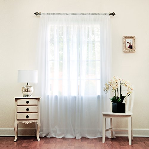 Best Home Fashion Sheer Voile Curtains -Back Tab/ Rod Pocket – White – 58″W x 84″L – (Set of 2 Panels)