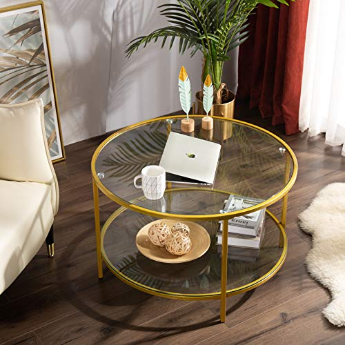 "Bonnlo 31.5"" Round Coffee Table with Open Storage Shelf,2-Tier Temperred Glass Round Accent Coffee Table with Golden Metal Frame"