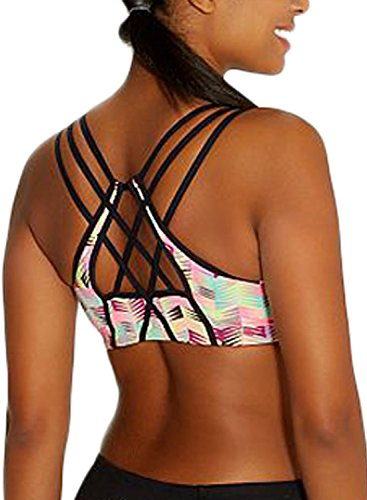 EVALESS Women's Active Strappy Wirefree Yoga Sports Bra Support Running Bra Top