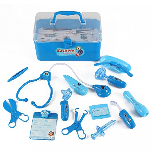Liberty Imports Medical Box Blue Doctor Nurse Medical Kit Playset for Kids - Pretend Play Tools Toy Set - Kids Dr Kit