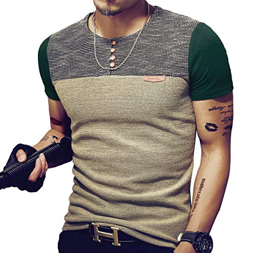 X-large X-large Color - LOGEEYAR Mens Premium Fitted Short-Sleeve Contrast Color Stitching T-Shirt (X-Large, Green)