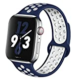OriBear Compatible for Apple Watch Band 44mm 42mm, Breathable Sporty for iWatch Bands Series 4/3/2/1, Watch Nike+, Various Styles and Colors for Women and Men(M/L,Blue-White)