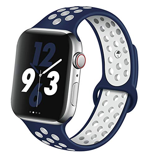 OriBear Compatible for Apple Watch Band 40mm 38mm, Breathable Sporty for iWatch Bands Series 4/3/2/1, Watch Nike+, Various Styles and Colors for Woman and Man(S/M,Blue-White)