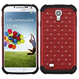 Red Bling Impact Hybrid Rugged Case Samsung Galaxy S4 S 4 Rubber Hard Cover fits Sprint L720, Verizon i545, AT&T Wireless i337, T-Mobile I9505, U.S. Cellular R970, Cricket R970C, Metro PCS M919, I9500