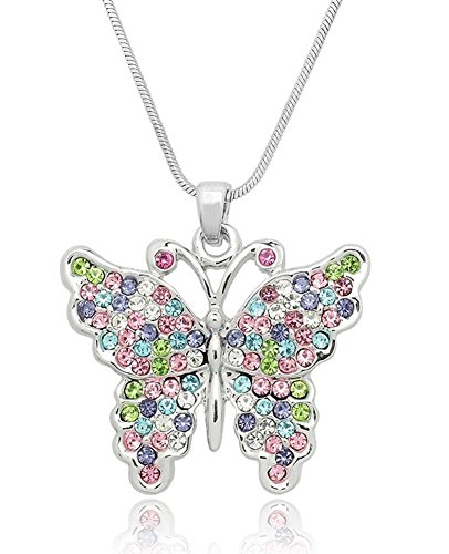 Pretty Pastel Crystal Embellished Butterfly Silver Tone Pendant Necklace for Girls, Teens and Women (Rainbow Multicolor)